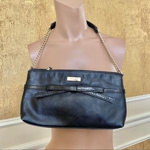 Kate Spade black bow leather evening shoulder bag